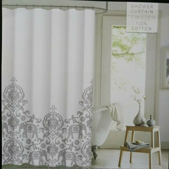 envogue silver elephant fabric shower curtain cott